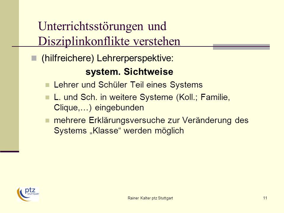 Rainer Kalter ptz Stuttgart11 Unterrichtsstörungen und Disziplinkonflikte verstehen (hilfreichere) Lehrerperspektive: system.