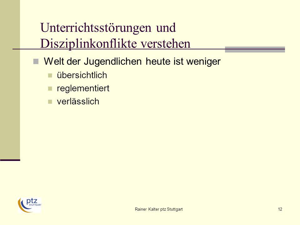 Rainer Kalter ptz Stuttgart12 Unterrichtsstörungen und Disziplinkonflikte verstehen Welt der Jugendlichen heute ist weniger übersichtlich reglementiert verlässlich