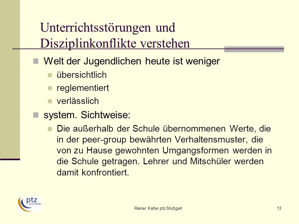 Rainer Kalter ptz Stuttgart13 Unterrichtsstörungen und Disziplinkonflikte verstehen Welt der Jugendlichen heute ist weniger übersichtlich reglementiert verlässlich system.