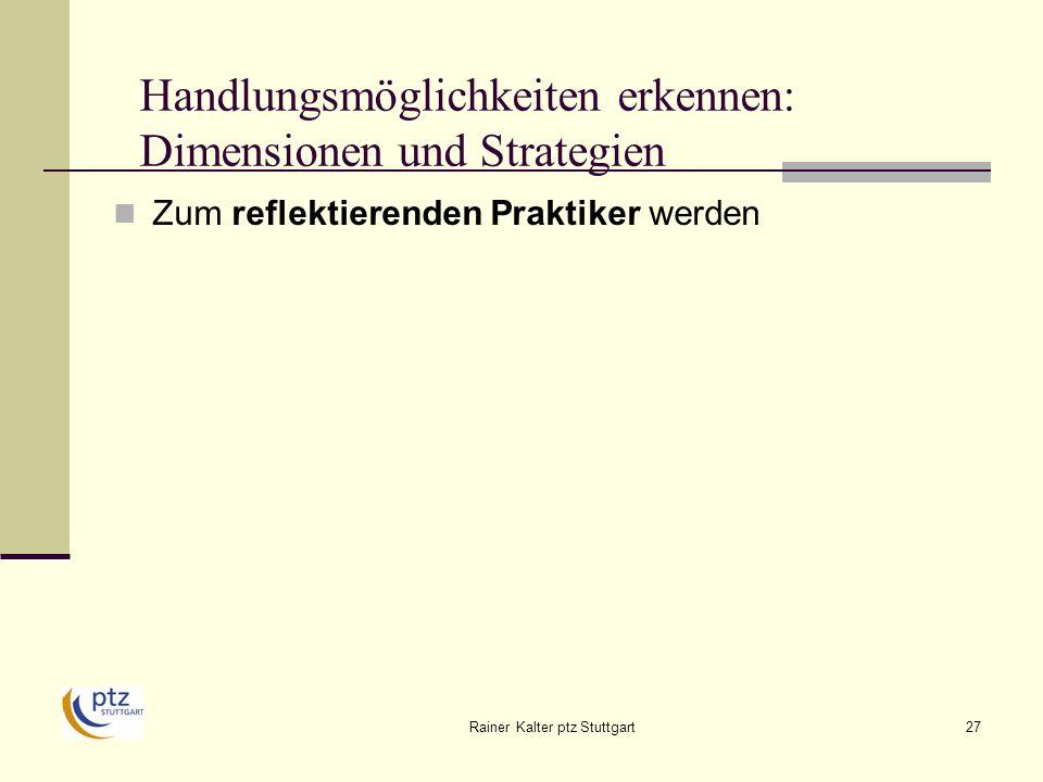 Rainer Kalter ptz Stuttgart27 Handlungsmöglichkeiten erkennen: Dimensionen und Strategien Zum reflektierenden Praktiker werden
