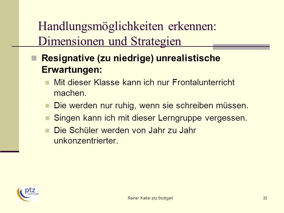 Rainer Kalter ptz Stuttgart32 Handlungsmöglichkeiten erkennen: Dimensionen und Strategien Resignative (zu niedrige) unrealistische Erwartungen: Mit dieser Klasse kann ich nur Frontalunterricht machen.