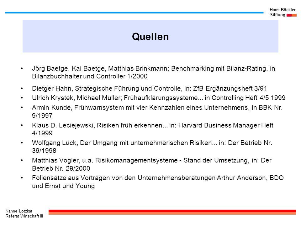 Nanne Lotzkat Referat Wirtschaft III Hans Böckler Stiftung Quellen Jörg Baetge, Kai Baetge, Matthias Brinkmann; Benchmarking mit Bilanz-Rating, in Bil