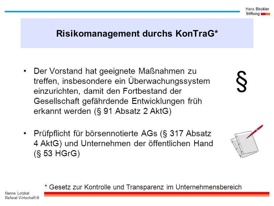 Nanne Lotzkat Referat Wirtschaft III Hans Böckler Stiftung Risikomanagement durchs KonTraG* Der Vorstand hat geeignete Maßnahmen zu treffen, insbesond