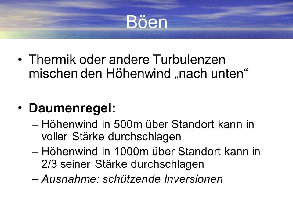 Böen Thermik oder andere Turbulenzen mischen den Höhenwind nach unten Daumenregel: –Höhenwind in 500m über Standort kann in voller Stärke durchschlage