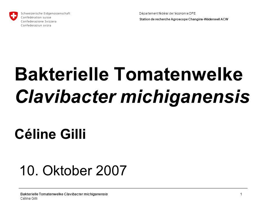 Bakterielle Tomatenwelke Clavibacter michiganensis Céline Gilli 1 10.