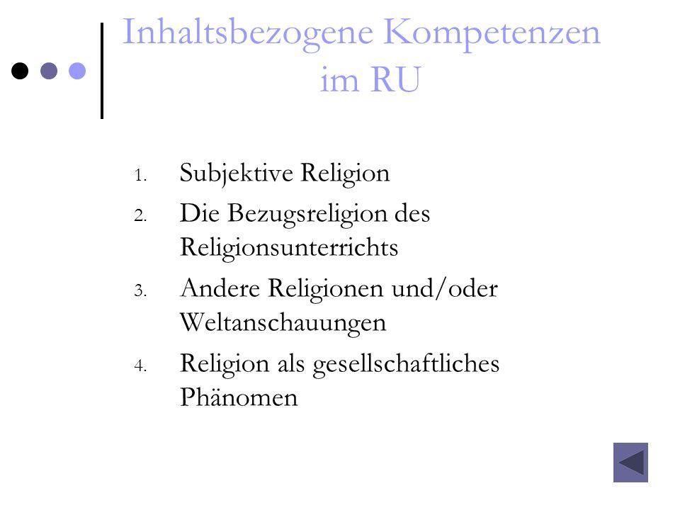 Inhaltsbezogene Kompetenzen im RU 1. Subjektive Religion 2. Die Bezugsreligion des Religionsunterrichts 3. Andere Religionen und/oder Weltanschauungen
