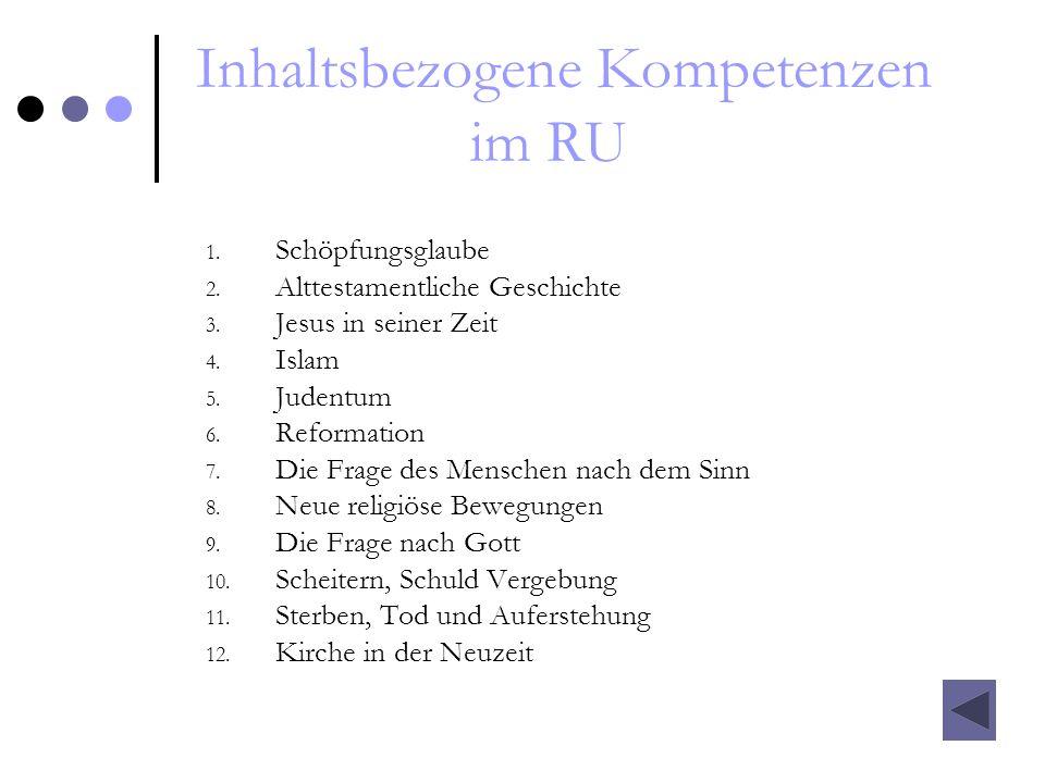 Inhaltsbezogene Kompetenzen im RU 1. Schöpfungsglaube 2. Alttestamentliche Geschichte 3. Jesus in seiner Zeit 4. Islam 5. Judentum 6. Reformation 7. D