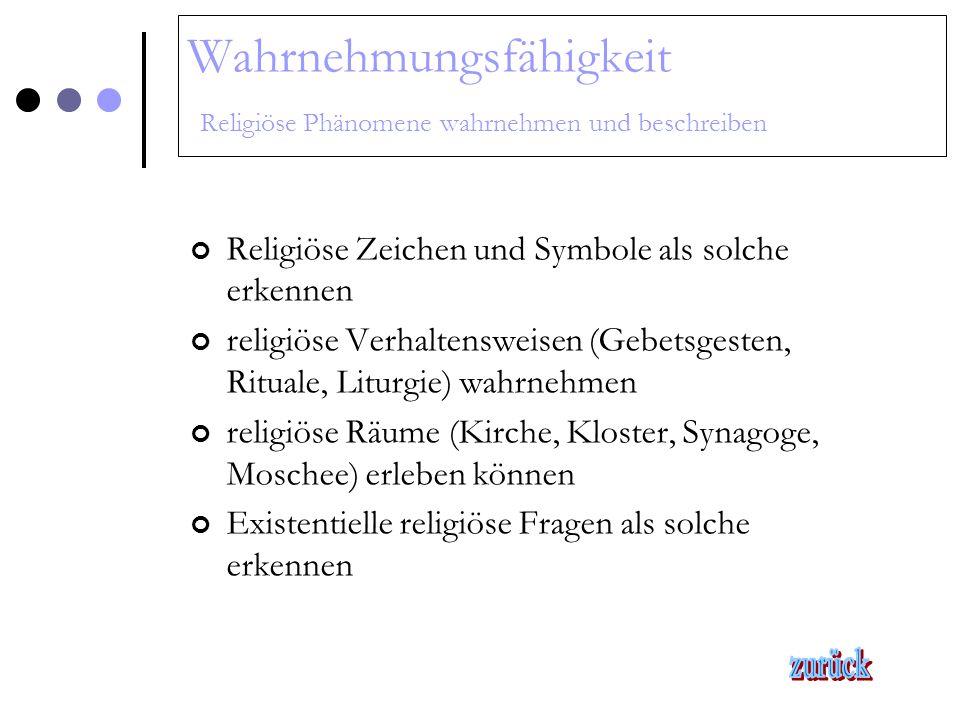 Wahrnehmungsfähigkeit Religiöse Phänomene wahrnehmen und beschreiben Religiöse Zeichen und Symbole als solche erkennen religiöse Verhaltensweisen (Geb