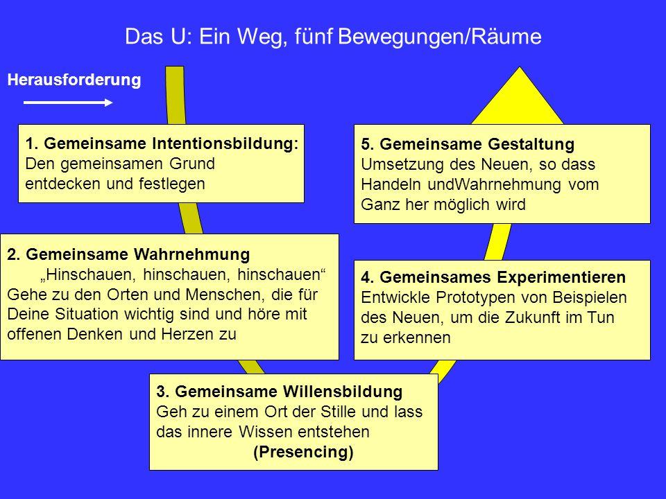 Herausforderung Das U: Ein Weg, fünf Bewegungen/Räume 1. Gemeinsame Intentionsbildung: Den gemeinsamen Grund entdecken und festlegen 2. Gemeinsame Wah