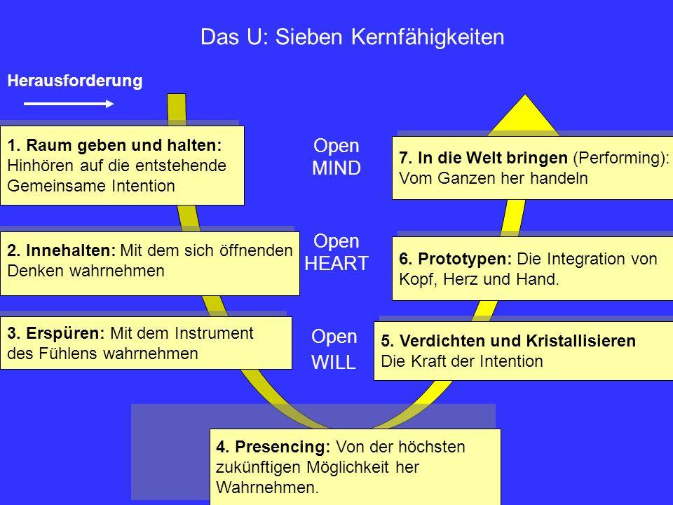 Herausforderung Das U: Sieben Kernfähigkeiten 1. Raum geben und halten: Hinhören auf die entstehende Gemeinsame Intention 1. Raum geben und halten: Hi
