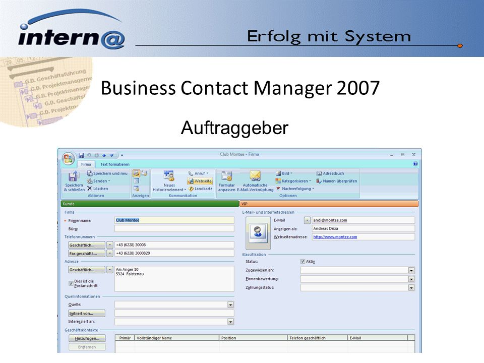Business Contact Manager 2007 Auftraggeber