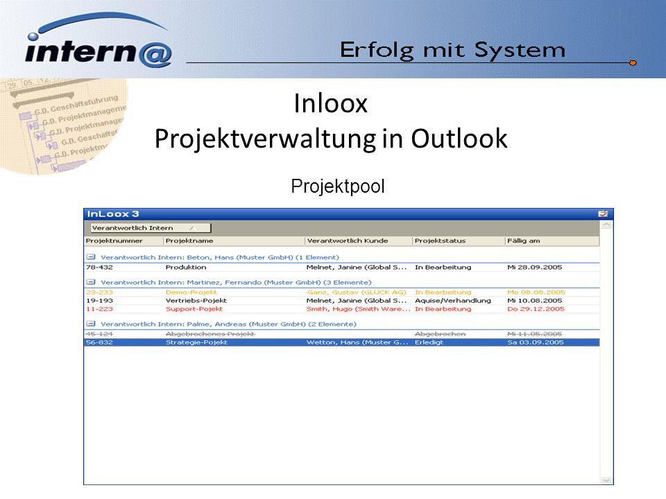 Inloox Projektverwaltung in Outlook Einzelprojekt Projektvorgang