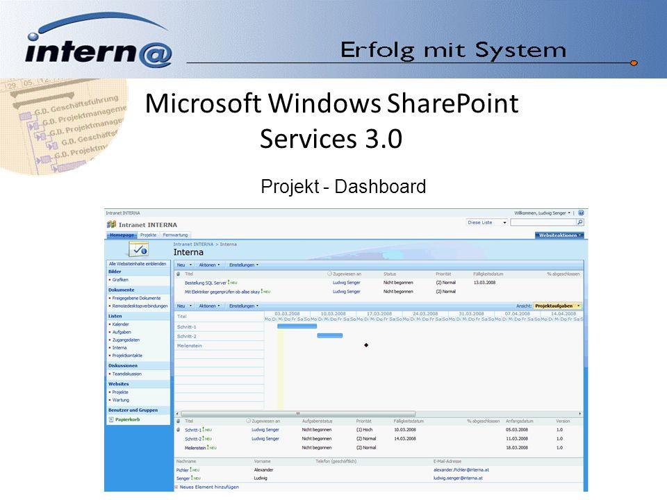 Microsoft Windows SharePoint Services 3.0 Projekt - Dashboard