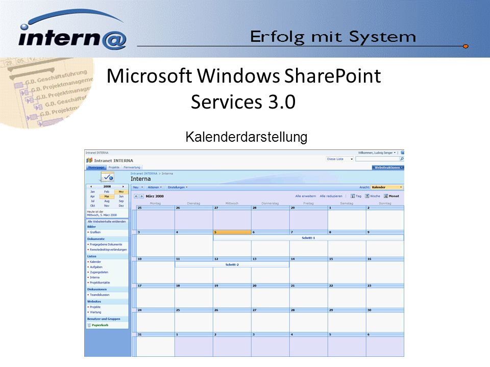 Microsoft Windows SharePoint Services 3.0 Kalenderdarstellung