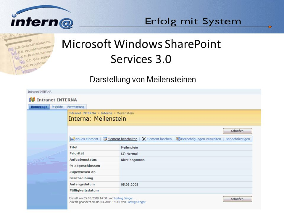 Microsoft Windows SharePoint Services 3.0 Darstellung von Meilensteinen