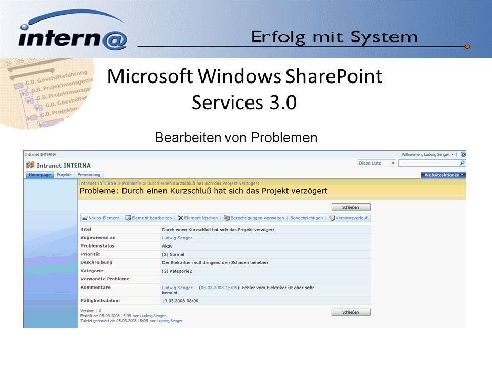 Microsoft Windows SharePoint Services 3.0 Bearbeiten von Problemen
