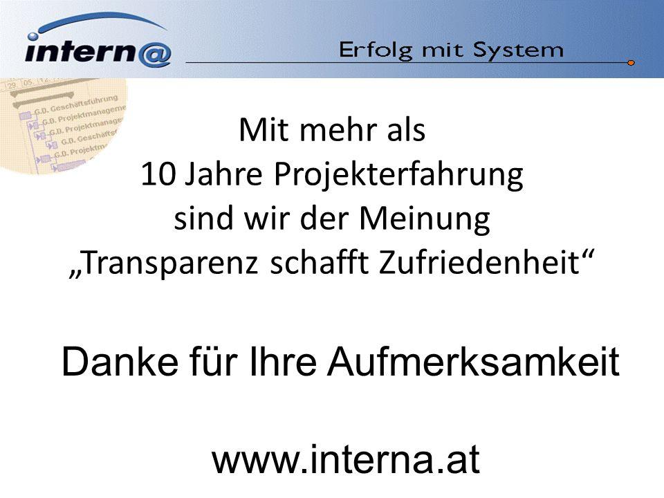 Mit mehr als 10 Jahre Projekterfahrung sind wir der MeinungTransparenz schafft Zufriedenheit Danke für Ihre Aufmerksamkeit www.interna.at