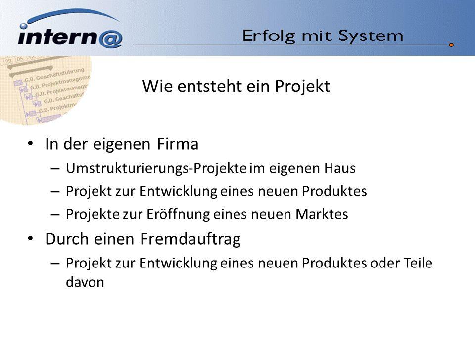 Wie entsteht ein Projekt In der eigenen Firma – Umstrukturierungs-Projekte im eigenen Haus – Projekt zur Entwicklung eines neuen Produktes – Projekte