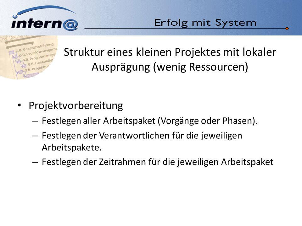 Struktur eines kleinen Projektes mit lokaler Ausprägung (wenig Ressourcen) Projektvorbereitung – Festlegen aller Arbeitspaket (Vorgänge oder Phasen).