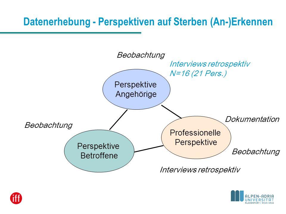 Perspektive Betroffene Perspektive Angehörige Professionelle Perspektive Datenerhebung - Perspektiven auf Sterben (An-)Erkennen Interviews retrospekti