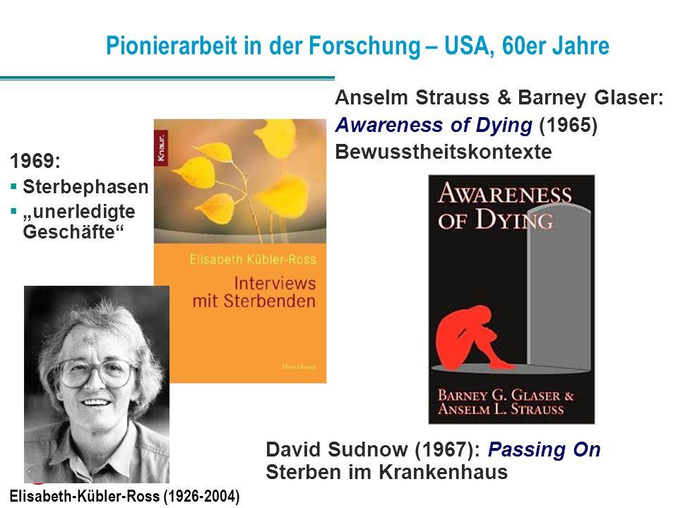 Pionierarbeit in der Forschung – USA, 60er Jahre Elisabeth-Kübler-Ross (1926-2004) David Sudnow (1967): Passing On Sterben im Krankenhaus 1969: Sterbe