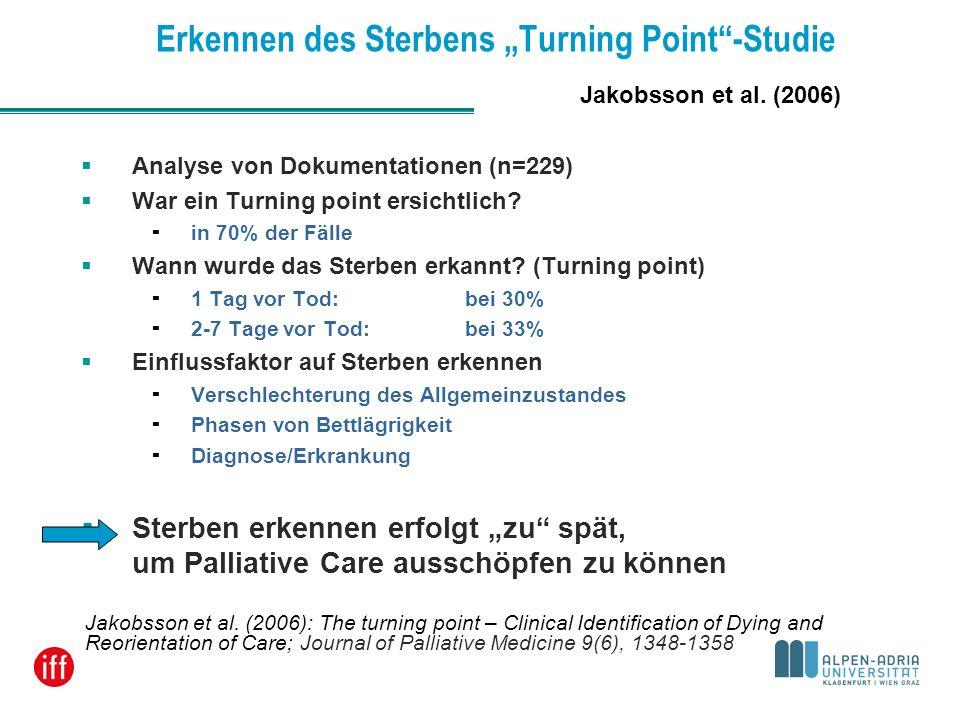 Erkennen des Sterbens Turning Point-Studie Analyse von Dokumentationen (n=229) War ein Turning point ersichtlich? in 70% der Fälle Wann wurde das Ster