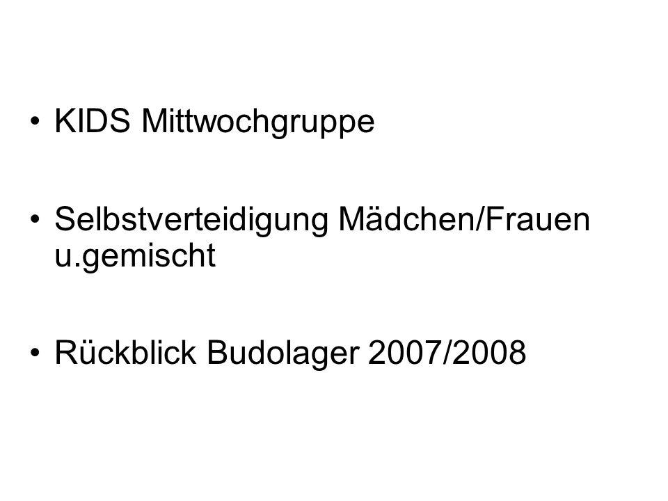 KIDS Mittwochgruppe Selbstverteidigung Mädchen/Frauen u.gemischt Rückblick Budolager 2007/2008