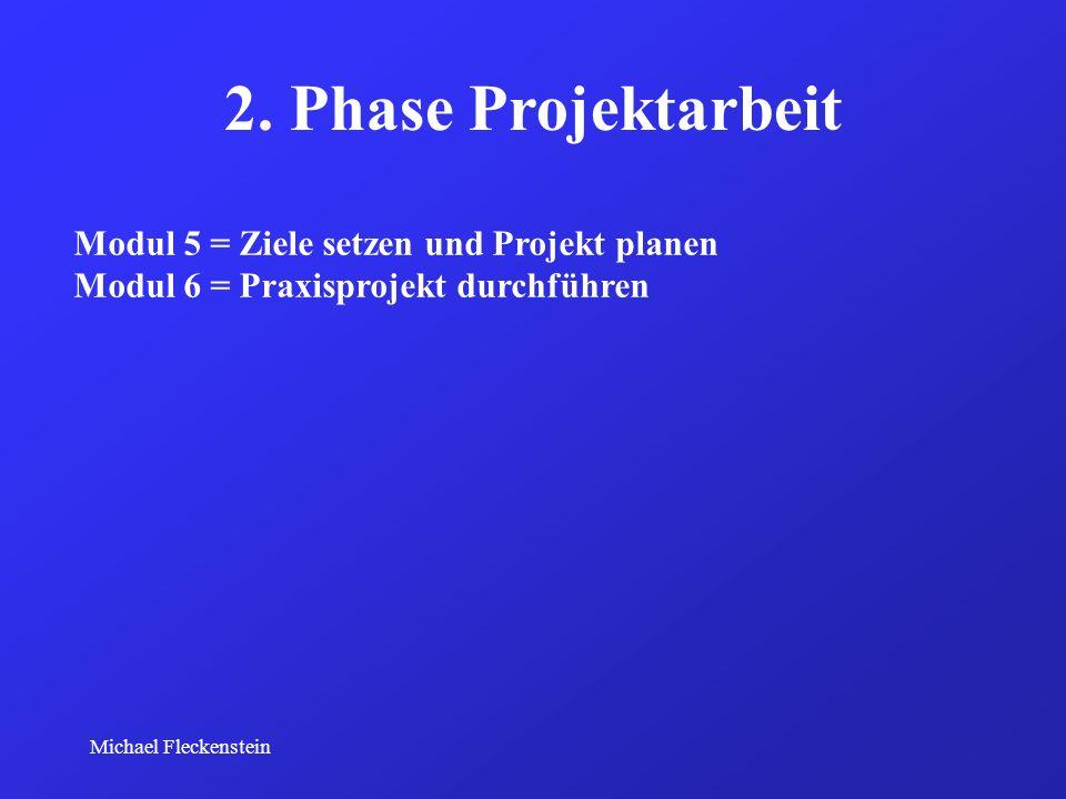 Michael Fleckenstein 2. Phase Projektarbeit Modul 5 = Ziele setzen und Projekt planen Modul 6 = Praxisprojekt durchführen