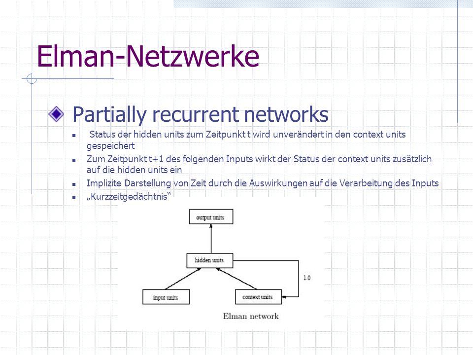 Elman-Netzwerke Partially recurrent networks Status der hidden units zum Zeitpunkt t wird unverändert in den context units gespeichert Zum Zeitpunkt t+1 des folgenden Inputs wirkt der Status der context units zusätzlich auf die hidden units ein Implizite Darstellung von Zeit durch die Auswirkungen auf die Verarbeitung des Inputs Kurzzeitgedächtnis