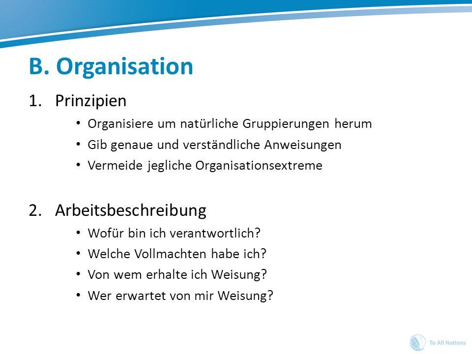 B. Organisation 1.Prinzipien Organisiere um natürliche Gruppierungen herum Gib genaue und verständliche Anweisungen Vermeide jegliche Organisationsext