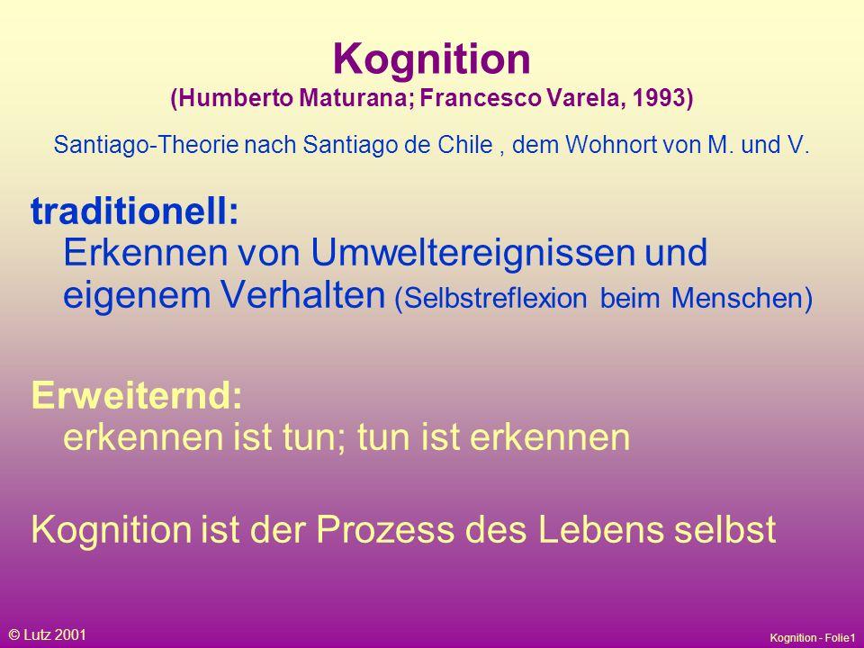 Kognition - Folie1 © Lutz 2001 Kognition (Humberto Maturana; Francesco Varela, 1993) Santiago-Theorie nach Santiago de Chile, dem Wohnort von M.