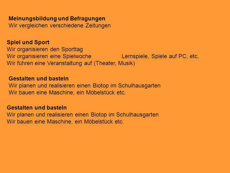 Meinungsbildung und Befragungen Wir vergleichen verschiedene Zeitungen Spiel und Sport Wir organisieren den Sporttag Wir organisieren eine Spielwoche
