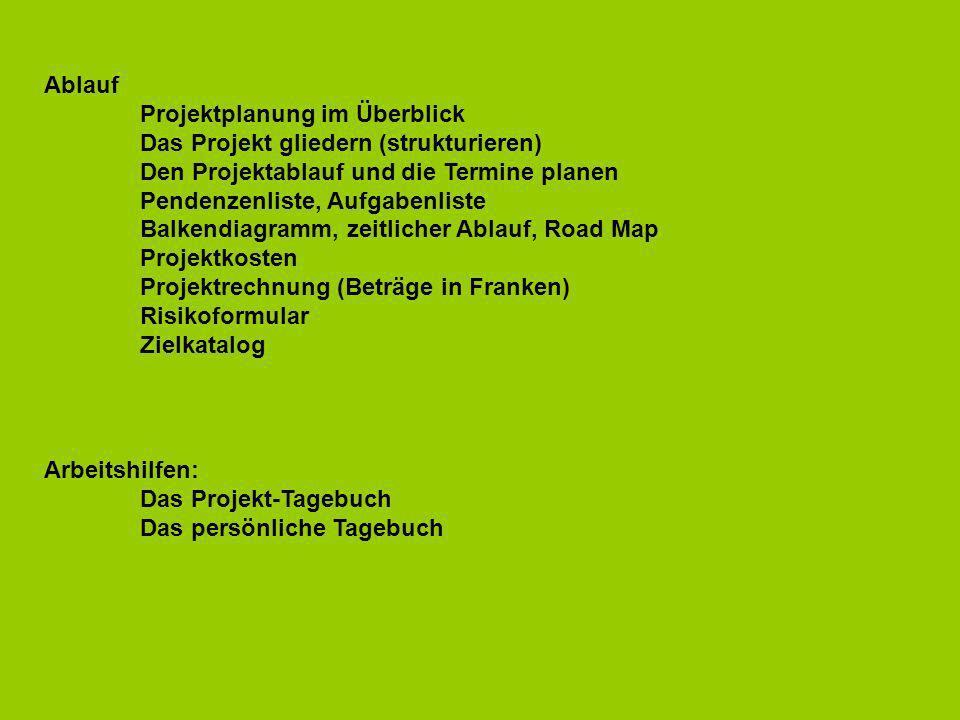 Arbeitshilfen: Das Projekt-Tagebuch Das persönliche Tagebuch Ablauf Projektplanung im Überblick Das Projekt gliedern (strukturieren) Den Projektablauf