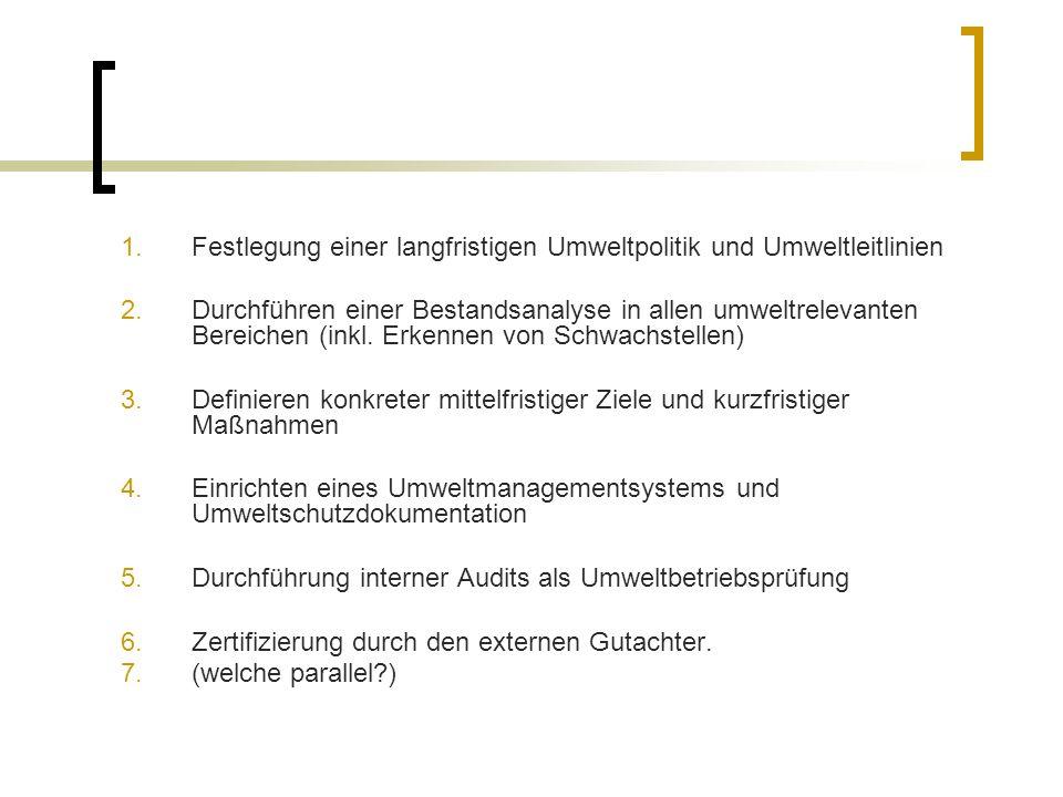 1.Festlegung einer langfristigen Umweltpolitik und Umweltleitlinien 2.Durchführen einer Bestandsanalyse in allen umweltrelevanten Bereichen (inkl.