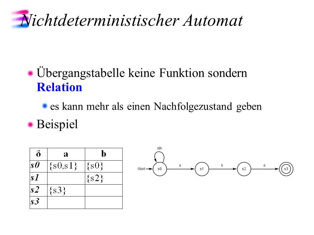 Nichtdeterministischer Automat Übergangstabelle keine Funktion sondern Relation es kann mehr als einen Nachfolgezustand geben Beispiel