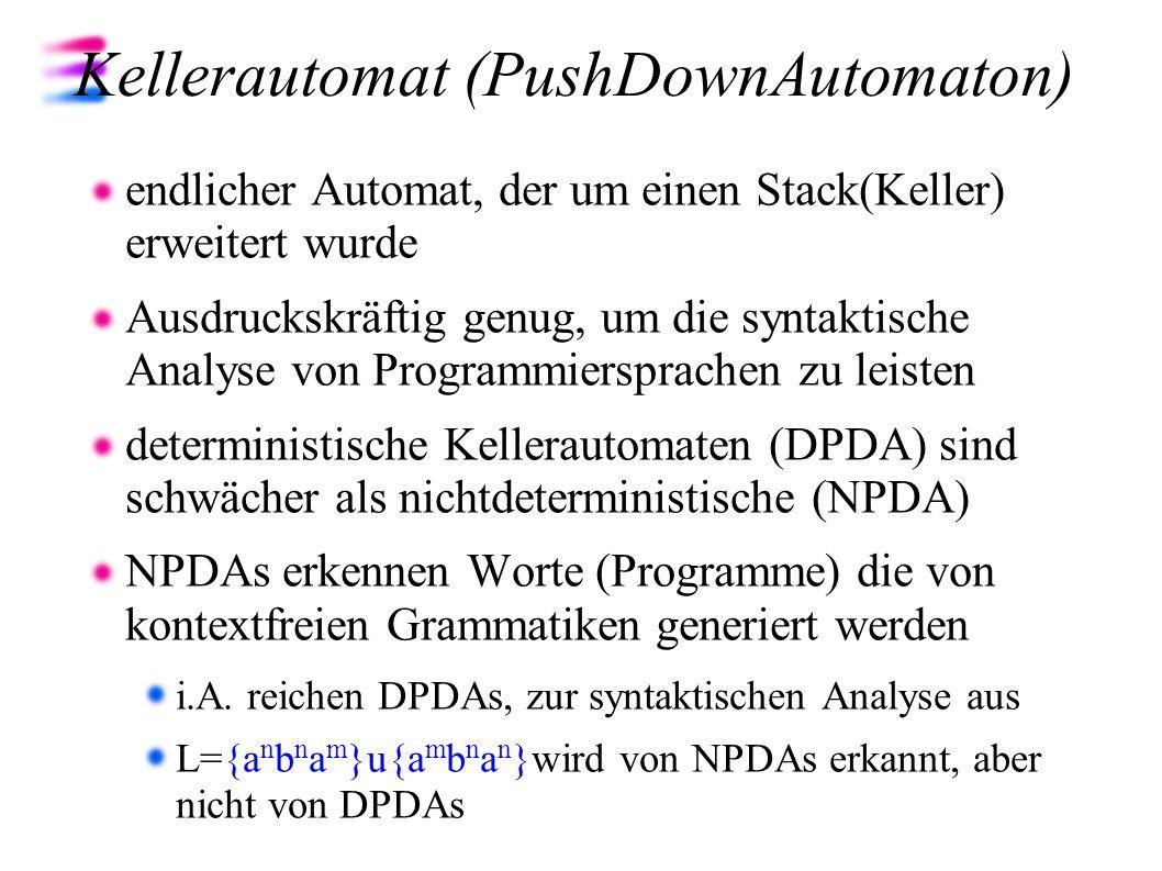 Kellerautomat (PushDownAutomaton) endlicher Automat, der um einen Stack(Keller) erweitert wurde Ausdruckskräftig genug, um die syntaktische Analyse vo