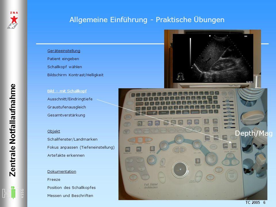 TC 2005 6 Zentrale Notfallaufnahme Geräteeinstellung Patient eingeben Schallkopf wählen Bildschirm Kontrast/Helligkeit Bild – mit Schallkopf Ausschnit