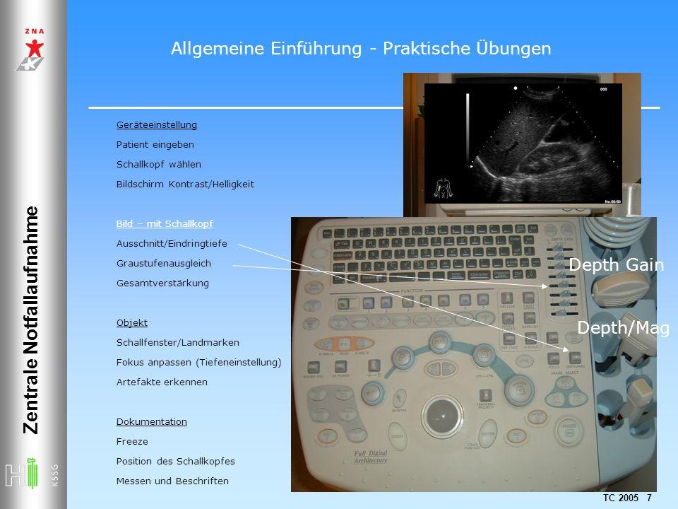 TC 2005 7 Zentrale Notfallaufnahme Geräteeinstellung Patient eingeben Schallkopf wählen Bildschirm Kontrast/Helligkeit Bild – mit Schallkopf Ausschnit