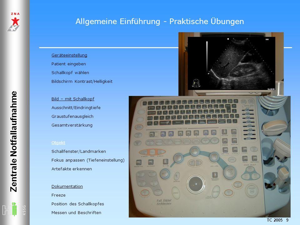 TC 2005 9 Zentrale Notfallaufnahme Geräteeinstellung Patient eingeben Schallkopf wählen Bildschirm Kontrast/Helligkeit Bild – mit Schallkopf Ausschnit