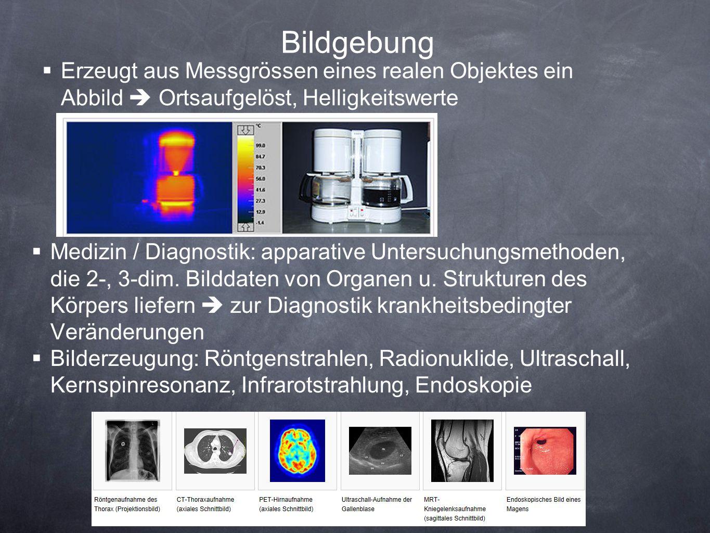 Bildgebung Erzeugt aus Messgrössen eines realen Objektes ein Abbild Ortsaufgelöst, Helligkeitswerte Medizin / Diagnostik: apparative Untersuchungsmeth