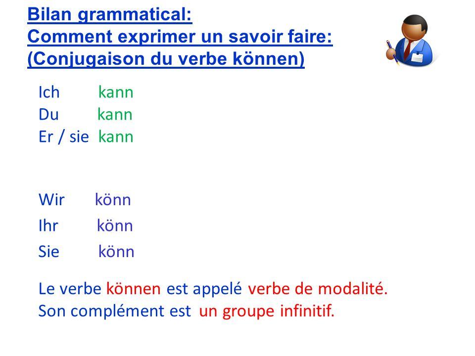 Er / sie kann Wir könn Bilan grammatical: Comment exprimer un savoir faire: (Conjugaison du verbe können) Du kann Ich kann Ihr könn Sie könn Le verbe