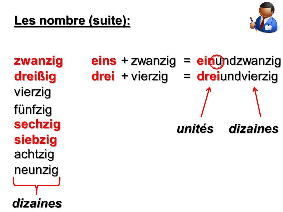 Les nombre (suite): dreißig vierzig eins fünfzig sechzig siebzig achtzig neunzig +zwanzig=zwanzig einundzwanzig drei+vierzig= dreiundvierzig dizaines unitésdizaines
