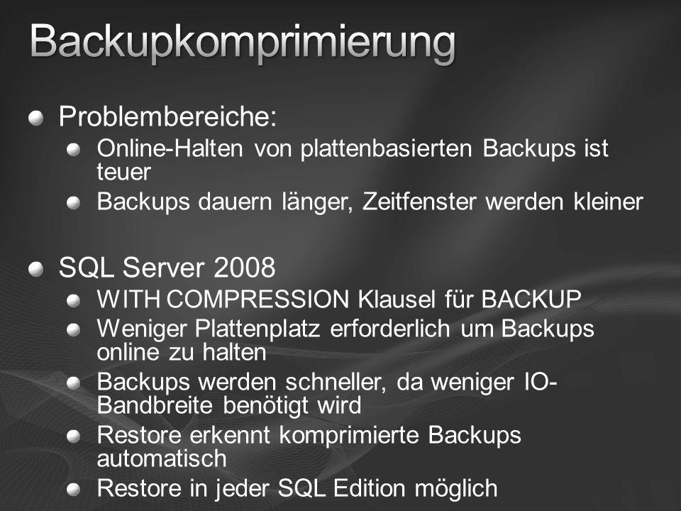 Problembereiche: Online-Halten von plattenbasierten Backups ist teuer Backups dauern länger, Zeitfenster werden kleiner SQL Server 2008 WITH COMPRESSION Klausel für BACKUP Weniger Plattenplatz erforderlich um Backups online zu halten Backups werden schneller, da weniger IO- Bandbreite benötigt wird Restore erkennt komprimierte Backups automatisch Restore in jeder SQL Edition möglich