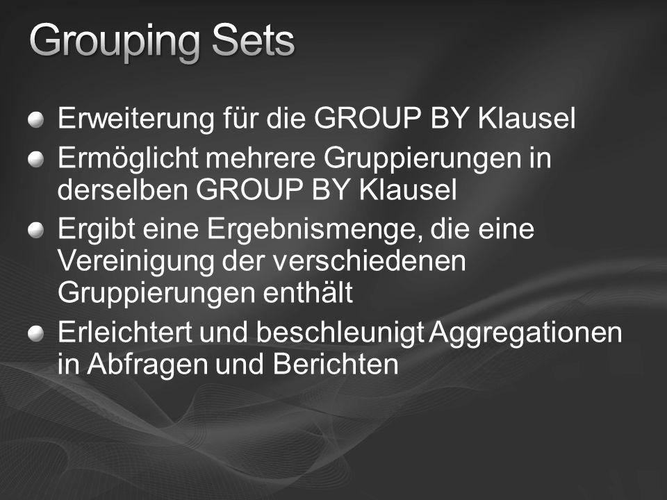 Erweiterung für die GROUP BY Klausel Ermöglicht mehrere Gruppierungen in derselben GROUP BY Klausel Ergibt eine Ergebnismenge, die eine Vereinigung der verschiedenen Gruppierungen enthält Erleichtert und beschleunigt Aggregationen in Abfragen und Berichten