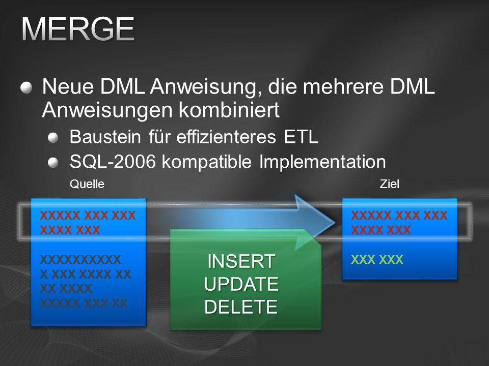 Neue DML Anweisung, die mehrere DML Anweisungen kombiniert Baustein für effizienteres ETL SQL-2006 kompatible Implementation XXXXX XXX XXX XXXX XXX XXXXXXXXXX XX XXXX XXXXX XXX XX QuelleZiel XXXXX X XXXX XXX XX XXX XXX INSERTUPDATEDELETEINSERTUPDATEDELETE