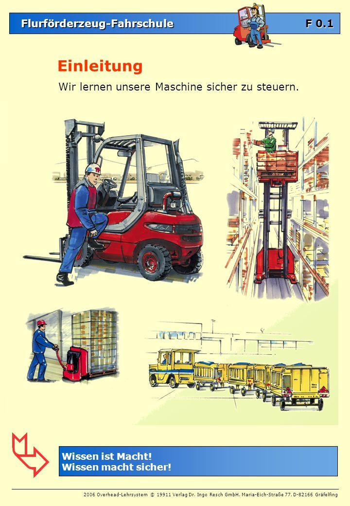 Flurförderzeug-Fahrschule Flurförderzeug-Fahrschule 2006 Overhead-Lehrsystem © 19911 Verlag Dr. Ingo Resch GmbH, Maria-Eich-Straße 77, D-82166 Gräfelf