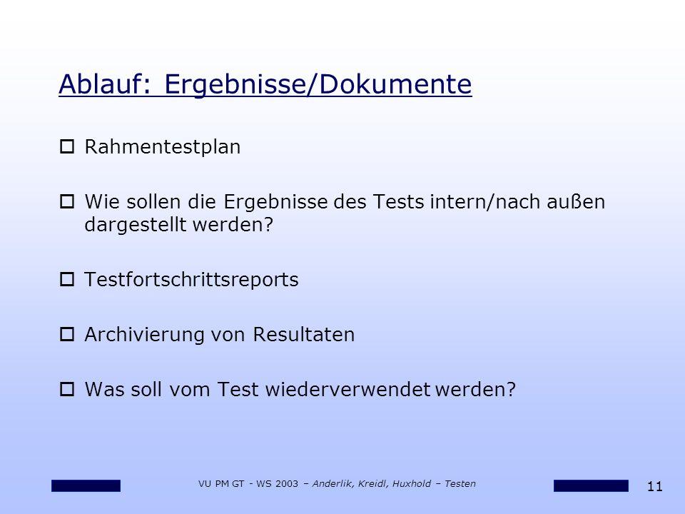 11 VU PM GT - WS 2003 – Anderlik, Kreidl, Huxhold – Testen Ablauf: Ergebnisse/Dokumente oRahmentestplan oWie sollen die Ergebnisse des Tests intern/nach außen dargestellt werden.