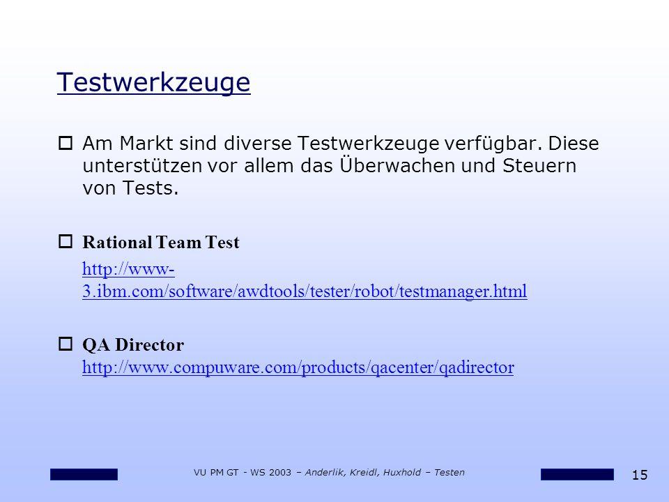 15 VU PM GT - WS 2003 – Anderlik, Kreidl, Huxhold – Testen Testwerkzeuge oAm Markt sind diverse Testwerkzeuge verfügbar. Diese unterstützen vor allem