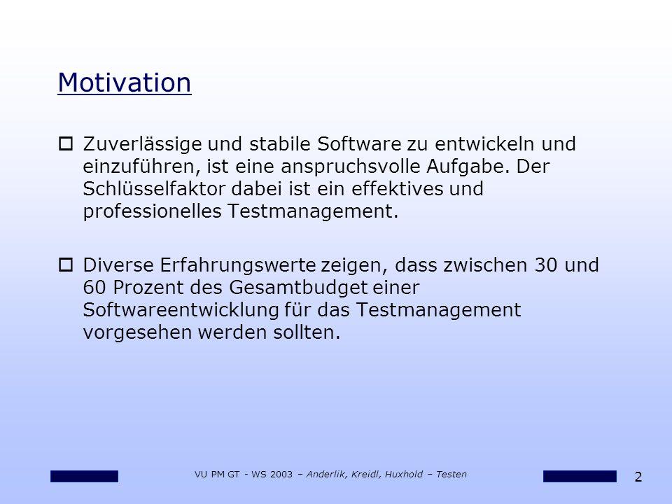 13 VU PM GT - WS 2003 – Anderlik, Kreidl, Huxhold – Testen Ablauf: Mitarbeiter und Teams oOptimale Zusammensetzung des Testteams oSchulungsbedarf.