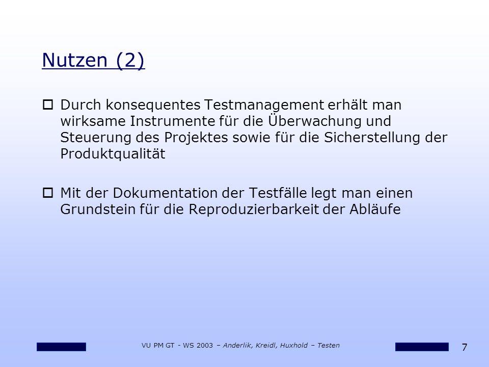 7 VU PM GT - WS 2003 – Anderlik, Kreidl, Huxhold – Testen oDurch konsequentes Testmanagement erhält man wirksame Instrumente für die Überwachung und S